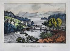Currier  Ives The Bridge At The Outlet
