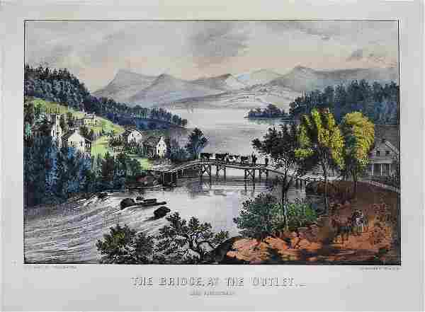 Currier & Ives, The Bridge At The Outlet