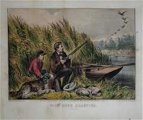 Currier  Ives Wild Duck Shooting On the Wing