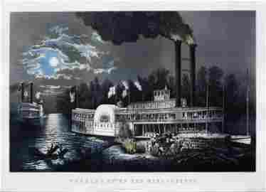 """Currier & Ives, """"Wooding Up"""" on the Mississippi."""