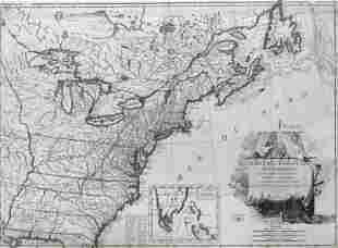 First map of the USA published after Treaty of Paris