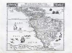 The Earliest Dutch Map of South America - De Jode