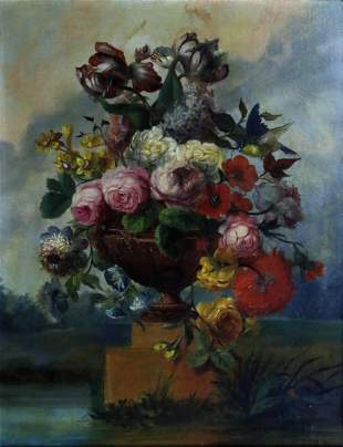 Hill Oil of a Floral Still Life