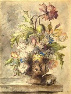 Huysem Original Watercolor of a Still-life of Roses