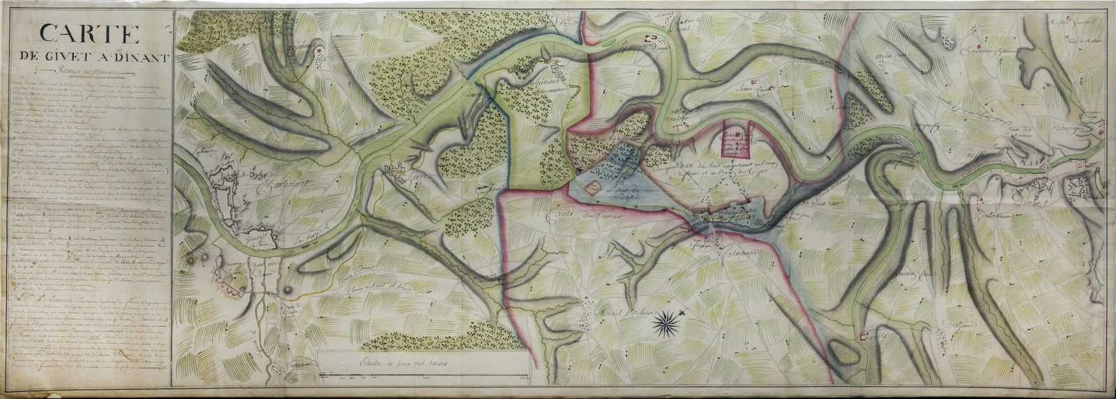 French Manuscript Map of the Meuse Valley