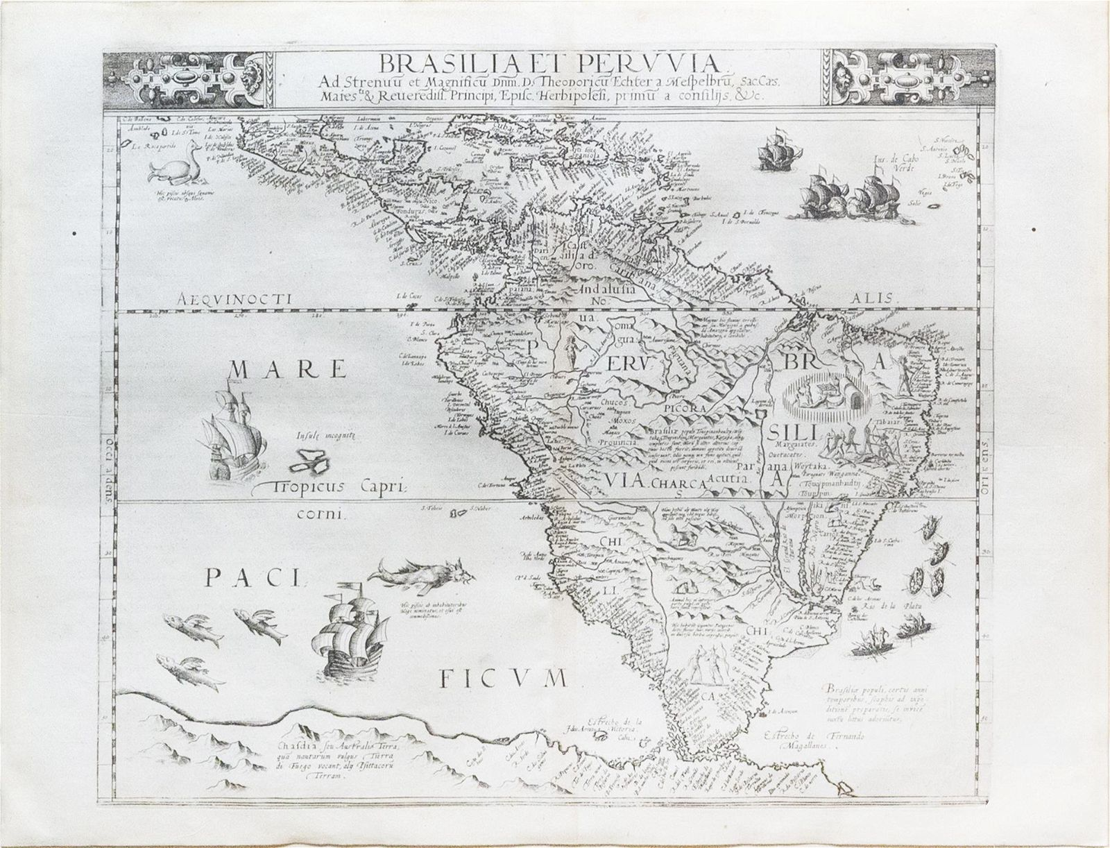 De Jode Map of South America, 1593