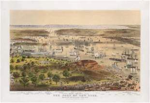 N. Currier, The Port of New York, Bird's Eye View from