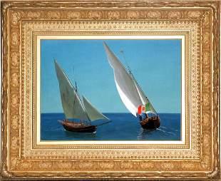 Albert Bierstadt, Sailing vessels off Capri