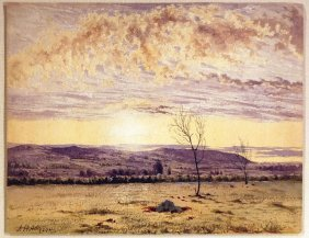 John Henry Hill Watercolor Of Landscape Scene At Sunset