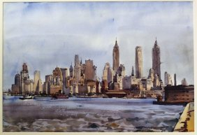 Beautiful Mid-20th C. Watercolor Of New York Skyline By