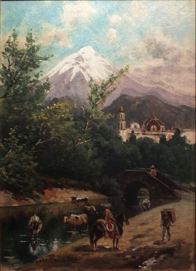 August Lohr Oil Painting Of Mexico, 1896