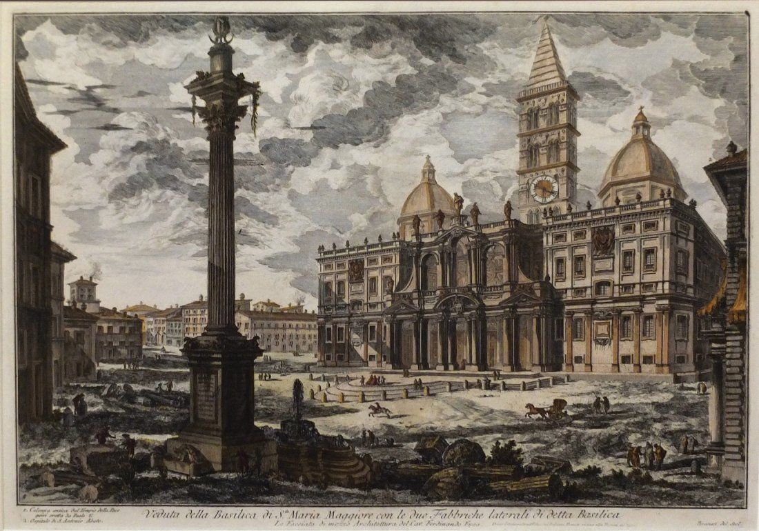 Piranesi Colored Etching from Views of Rome