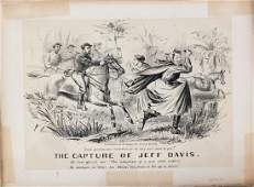 Currier  Ives Lithograph The Capture of Jeff Davis