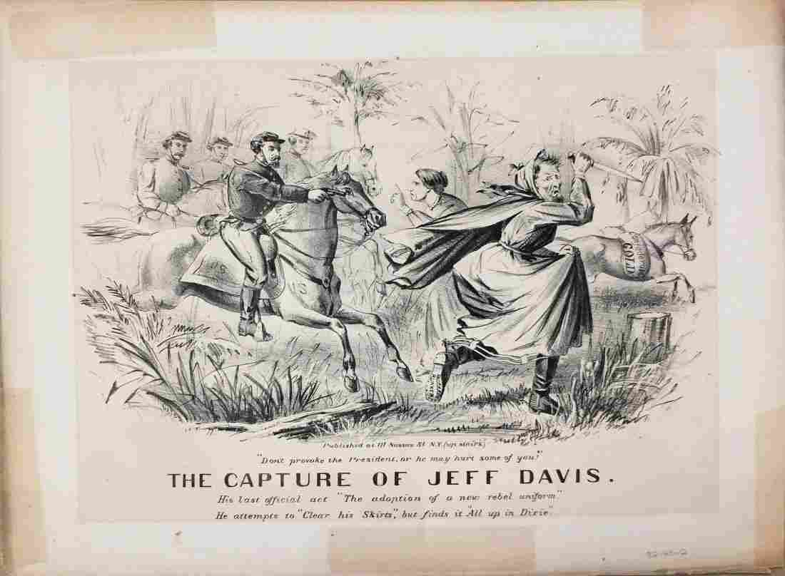 Currier & Ives Lithograph, The Capture of Jeff Davis