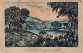 Currier  Ives Lithograph A Scene on the Susquehanna