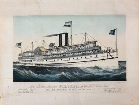 Currier & Ives Lithograph, New Palace Steamer Pilgrim