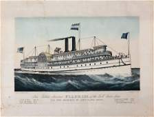 Currier  Ives Lithograph New Palace Steamer Pilgrim