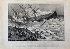 Currier  Ives Lithograph Wreck of the Atlantic 1873