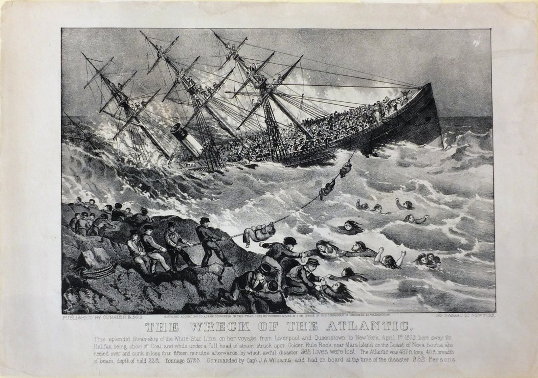 Currier & Ives Lithograph, Wreck of the Atlantic, 1873