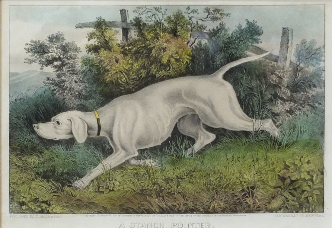 Currier & Ives Lithograph, A Stance Pointer 1870