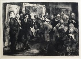 G. Bellows Lithograph Of Artists Judging Works