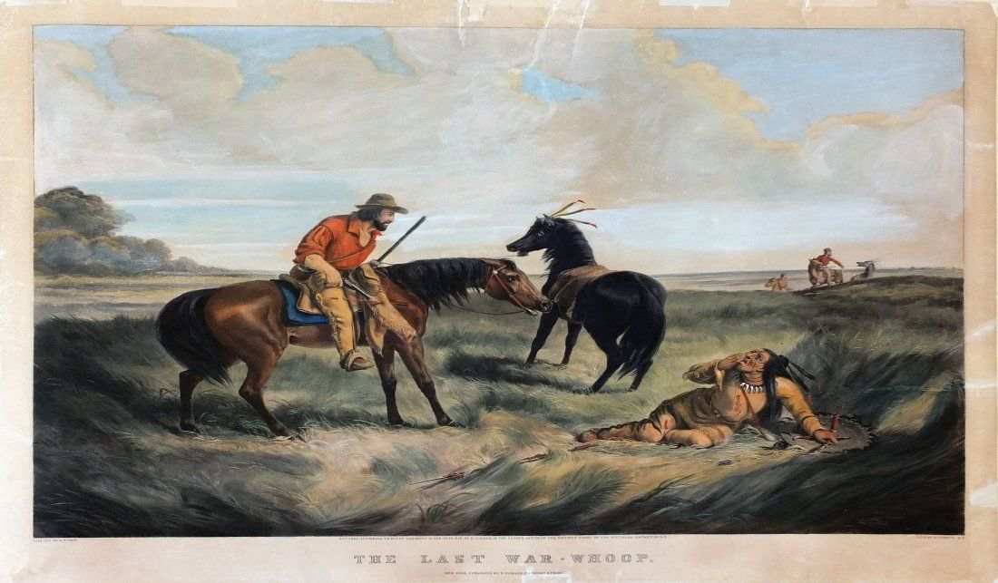Currier & Ives Lithograph, The Last War Whoop, 1856
