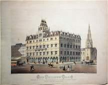 Late 19th Century Print of Odd Fellows Hall in Boston