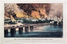 Currier  Ives Lithograph of the Fall of Richmond VA