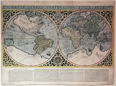 Beautifully Colored Double Hemisphere Map of the World