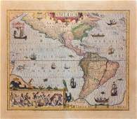 Engraved Hondius Map of America