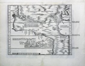 The Admiral\'s Map after Waldseemuller, showing New