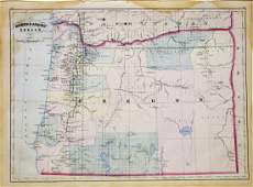 Largeformat Asher  Adams Lithographed Map of Oregon