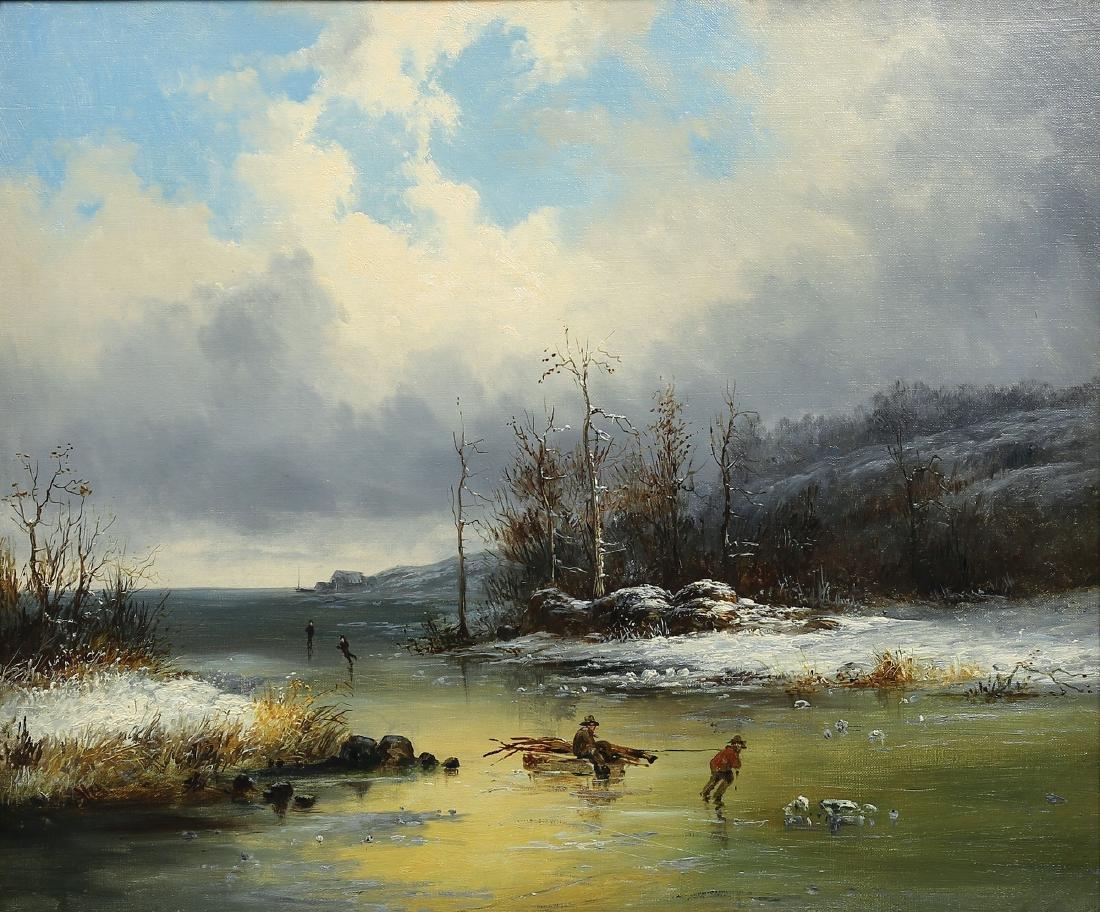 Cornelius D. Krieghoff, Winter River Scene Oil Painting