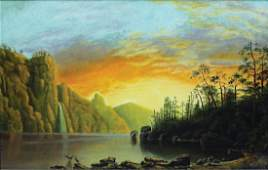 Bierstadt Chromolithograph of Sunset in California