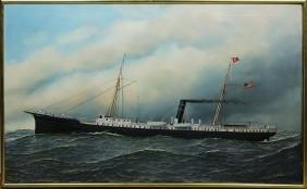A Splendid Original Oil Painting of the Steamship