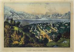 Currier  Ives Great Salt Lake Utah Lithograph