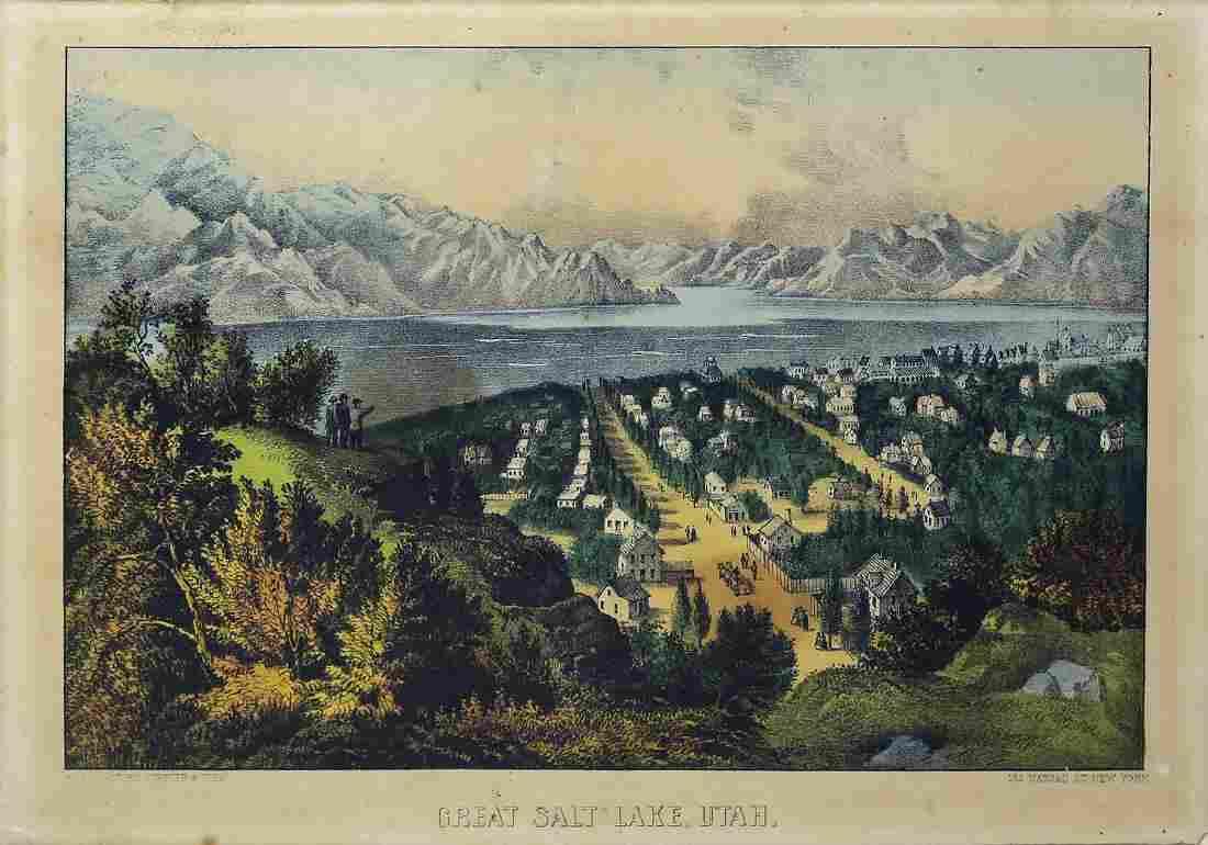 Currier & Ives Great Salt Lake, Utah Lithograph