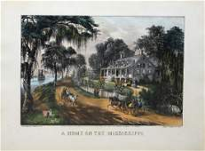 Currier  Ives A Home on the Mississippi Lithograph