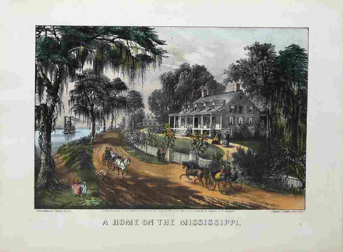 Currier & Ives A Home on the Mississippi Lithograph
