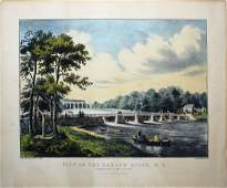 Currier  Ives View on the Harlem River NY Lithograph