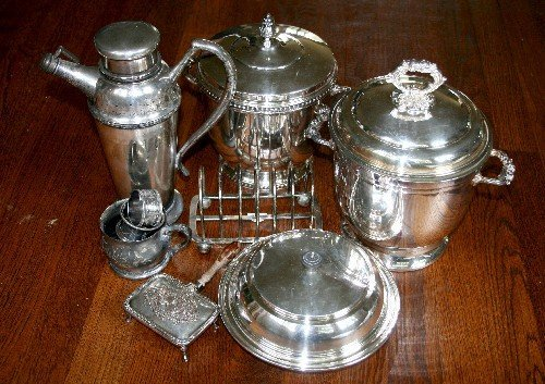 13: A Collection of Silver-Plate Items, Height of talle