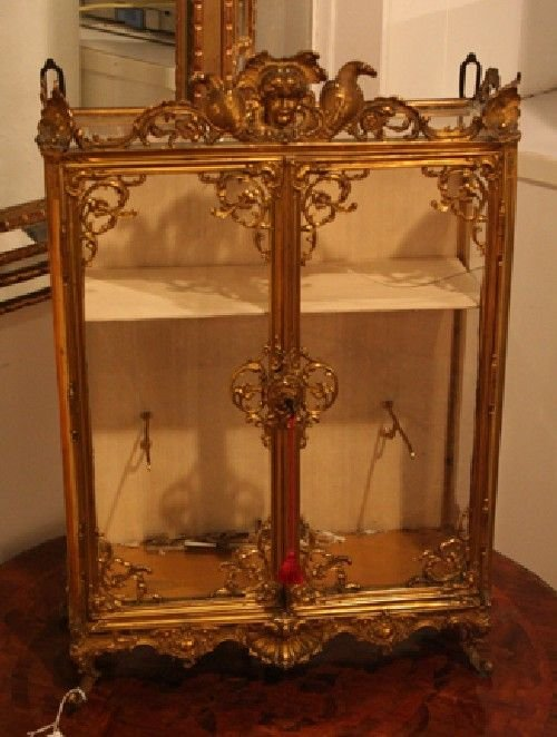 360: A Continental Gilt Metal Table Top Vitrine, Height
