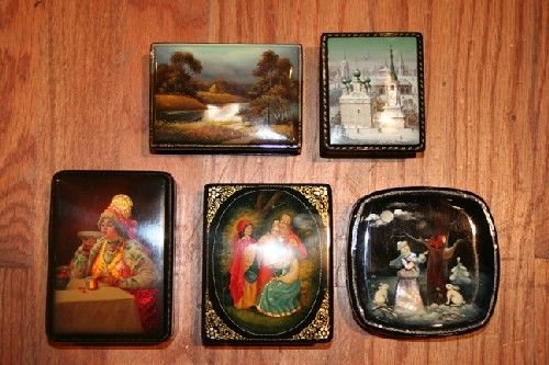 519: Five Fedoskino School Russian Lacquer Boxes,