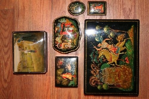 521: Six Palekh Russian Lacquer Boxes, Largest length 9