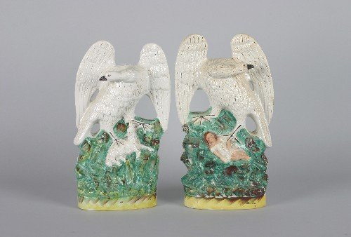 536: A Group of Two Staffordshire Figures of Eagles, He