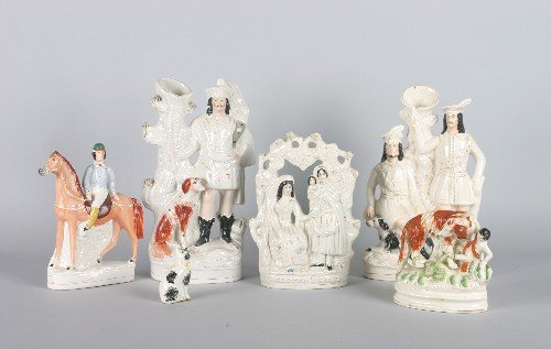 537: A Group of Six Staffordshire Figural Groups, Heigh