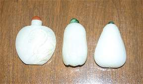 Two Chinese White Jade Snuff Bottles, Height of ta