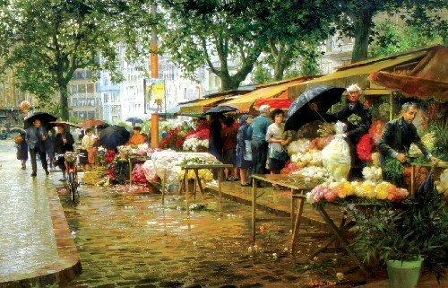 13: Clark Hulings, (American, b. 1922), Flower Market,