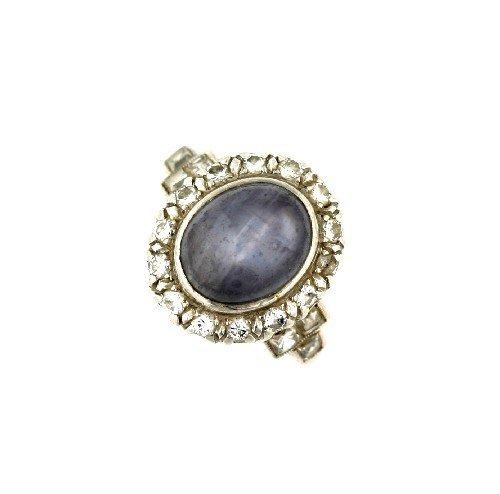 5: A Platinum, Blue Star Sapphire and Diamond Ring, Siz
