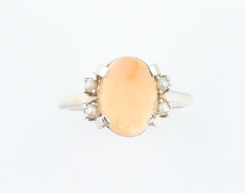 11: A White Gold, Orange Jelly Opal and Seed Pearl Ring